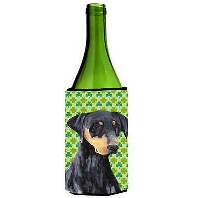 Doberman St. Patricks Day Shamrock Portrait Wine bottle sleeve Hugger 24 oz.