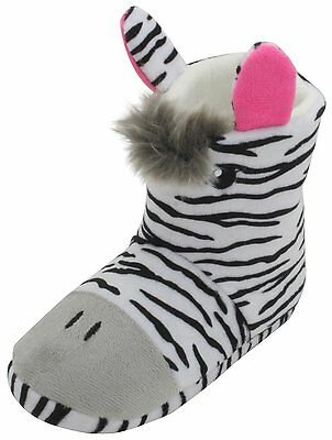 Girls 3D Fun Zebra Plush Fleece Novelty Slipper Boots Available In 4 UK Sizes