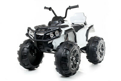 White Twin Motor Quad - 12V Kids' Electric Toy Ride On