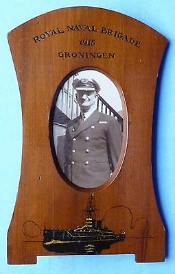 Unique British Ww1 Pow Groningen Naval Brigade Photograph Frame