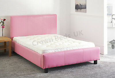 "Faux Leather Miami Upholstered Bed Frame In 4Ft6"" Double Pink"