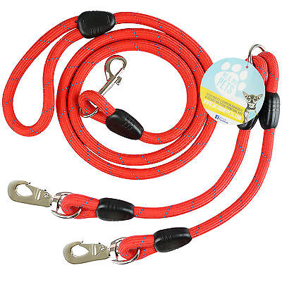 Me & My Red Rope Dog Lead & Double Splitter Twin Extender For Walking Two Dogs
