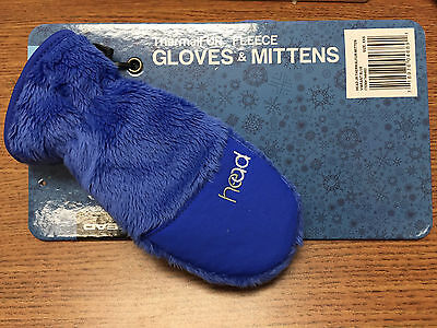 New Head Brand Kids Thermalfur Fleece Gloves Mittens Blue Various Sizes Save Now