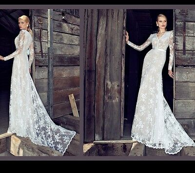 New white/ivory Lace wedding dress bridal Gown custom size 6 8 10 12 14 16 18 20
