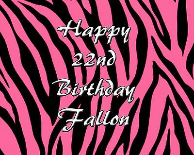 PINK Zebra Personalized Edible CAKE Image Icing Topper FREE SHIPPING