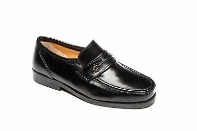Mens Luca Mancini Extra Wide Leather Slip On Moccasin Shoes,Black Brown Lm9900B