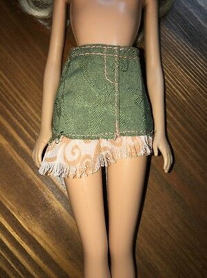 Vintage Barbie Doll Clothing Army Green & Peach Fringe Mini Skirt Embroidered