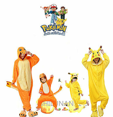 Pokemon Animal Pajamas Onesie1 Charmander Adult Pikachu Kids·Costume Pyjamas
