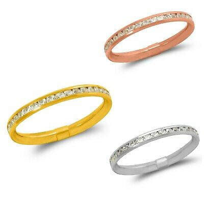 2.5mm 14K Solid White Yellow Rose Gold Ladies CZ Eternity Wedding Band Ring