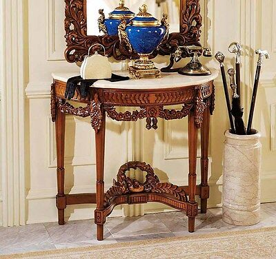 """Antique French Replica Hand-Carved 32"""" Wooden Console Table Marble Top"""