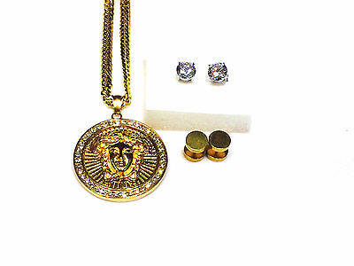 Mens 14k Gold Plated Stainless Steel Medusa Pendant With Chain & 2 earring pairs