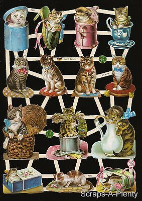 German Victorian Style Embossed Scrap Die Cut - Cats In Containers WOW  EF7360