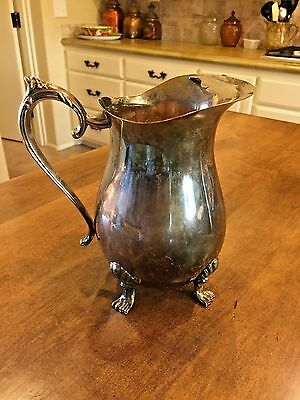 """Vintage Silver Plate~Leonard Silverplate~Footed Water Pitcher With Ice Lip 8.5"""""""