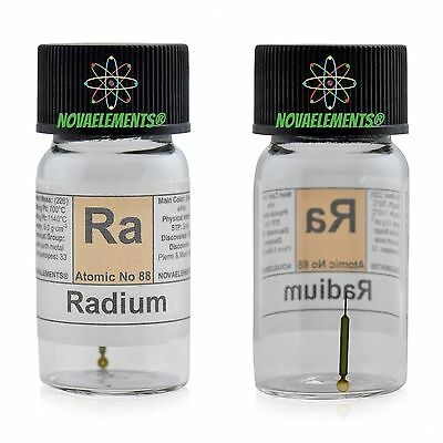 Radium watch hand element 88 sample, Ra in glass vial with label