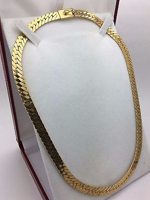 "New Solid 14K Yellow Gold 18"" Flat Herringbone Chain Link Necklace 44.1 grams"