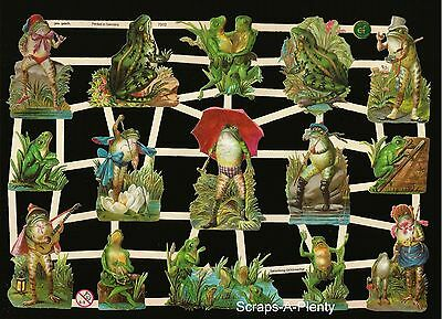 German Vintage Style Embossed Scrap Die Cut - Fancy Frogs WOW   EF7312