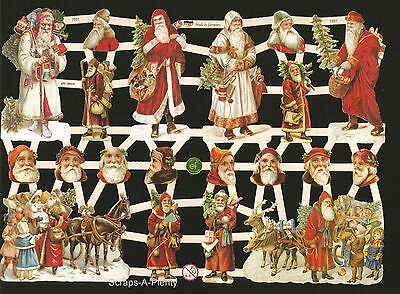 German Vintage Style Embossed Scrap Die Cut - Christmas Colorful Santa  EF7331