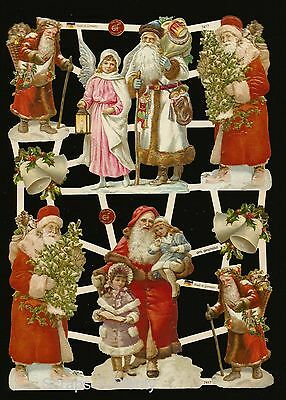 German Vintage Style Embossed Scrap Die Cut - Christmas Santa & Child   EF7417