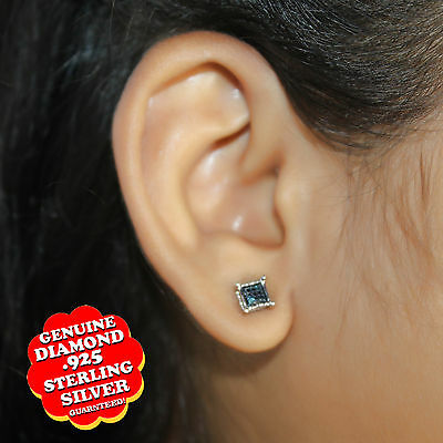 14K White Gold Over Round Blue Natural Diamond Accent Small Squre Stud Earrings