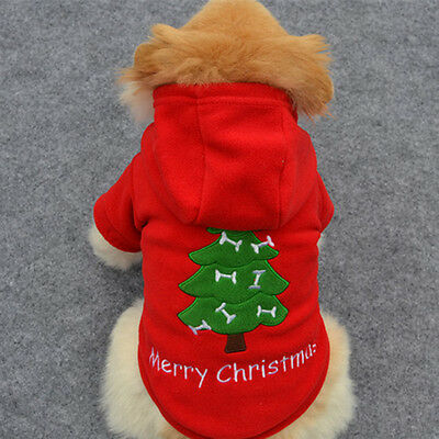 Pet Dog Christmas Tree Clothes Puppy Cat Hoodie Coat Xmas Winter Warm Outfit