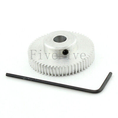 60T Aluminum 6mm Bore Hole Module 0.5 Motor Metal Gear Wheel with Top Screws