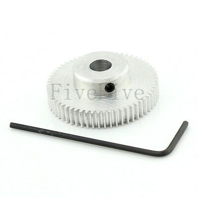 Aluminum 6mm Bore Hole 60T Module 0.5 Motor Metal Gear Wheel with Top Screws