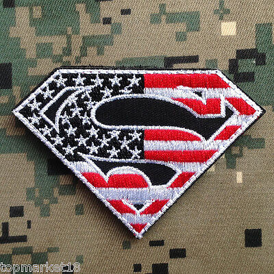 Superman American Flag Usa Army Tactical Isaf Us Military Red Morale Hook Patch