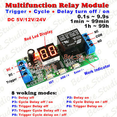 DC 12V 24V Digital LED Display Cycle Delay Timer Relay Switch Turn ON/OFF Module