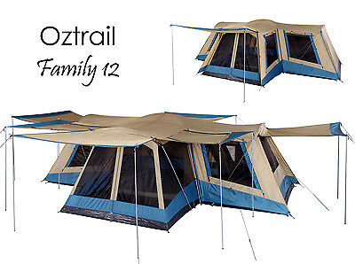 OZTRAIL FAMILY 12 Person (4 ROOM) Dome Family Tent - Sleeps 12