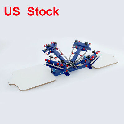 4 color Screen Printing Press Equipment  2 Stations Silk Screen Press Machine