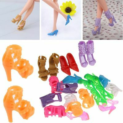 10Pairs High Heel Sandal Shoes Mixed for Doll Toy Princess Dress Clothes