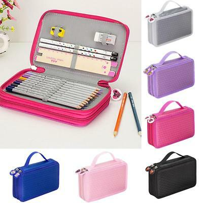 Dual Layers Pencil Pen Case Stationary Bag Makeup Storage Pouch Kids Adult Tool