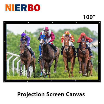 100 inch Portable Movie Projection Screens Fabric Curtain HD Video Home Theater