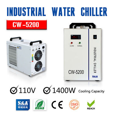 USA S&A 110V CW-5200DG Industrial Water Chiller for 130W / 150W CO2 Laser Tube