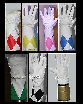 Mighty Morphin Power Rangers Gloves Cuffs Costume - Pink Black Blue Yellow