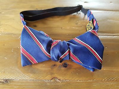 Vintage Retro Mens Bowtie Bow Christian Dior Red and Navy Pure Silk