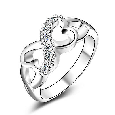 925 Sterling Silver Ring Crystal Double heart Rings Women's Engagement Jewelry