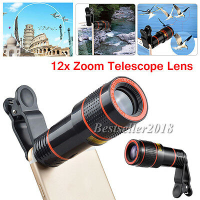 US Shipping 12X Zoom Camera Phone Telephoto Telescope Lens+ Clip For Cell Phones