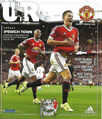 MANCHESTER UNITED v IPSWICH TOWN LEAGUE CUP 3rd ROUND 2015/16 MINT
