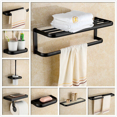 Wall Mounted Oil Rubbed Bronze Bath Accessories Towel Bar Holder & Paper Holder