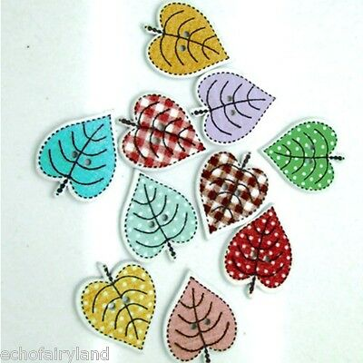 50Pcs Mixed Color Leaf Painting Wooden Buttons Clothes Sewing DIY Crafts