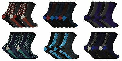 Mens 6 Pack Thin Cotton Rich Patterned Thin Striped Socks Many Designs 7-11 UK