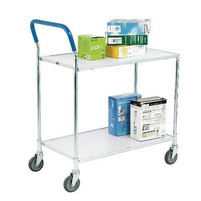Zinc Plated 2 Tier Service Trolley Metallic Grey and White 375424