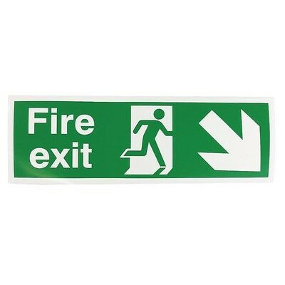 Signs and Labels Safety Sign Fire Exit Running Man Arrow Down Right 150x450mm