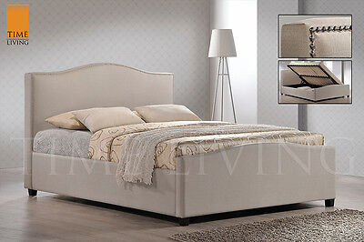 Time Living Brunswick Fabric Bed Frame in Grey/Sand - Free Del - Multiple Sizes