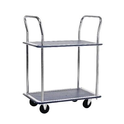 Barton 2 Shelf Trolley with Chrome Handles Silver and Blue PST2