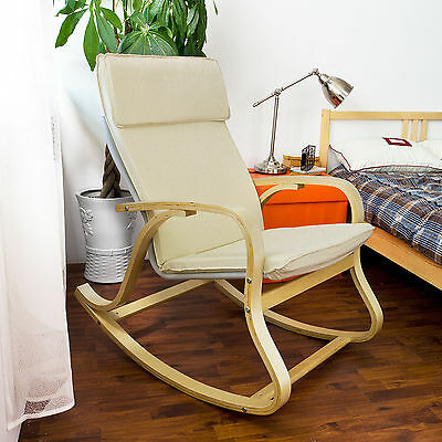 SoBuy® Wood Relaxing Rocking Chair,Lounge Chair with Cotton Cushion FST15-W