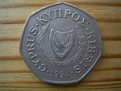 1994  Cyprus 50 Cent Coin Collectable