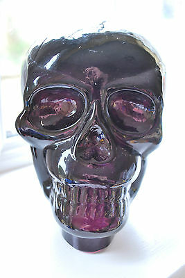 Amethyst Coloured Glass Skull - Halloween Spooky! - Dark Purple Glass  #3003