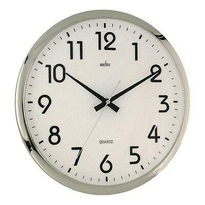Acctim Orion Silent Wall Clock White/Chrome 21287